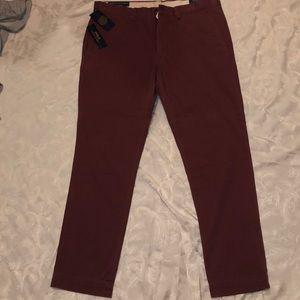 light maroon slim fit polo chino pants